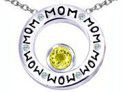 Star K MOM Circle Mothers Pendant with Round 7mm Simulated Citrine in Sterling Silver