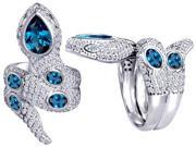Original Star K(TM) Good Luck Snake Ring with Simulated Blue Topaz Stones