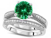 Star K Round 7mm Simulated Emerald Engagement Wedding Set in Sterling Silver Size 6