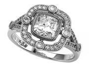 Zoe R(TM) 925 Sterling Silver Micro Pave Hand Set Cushion Cut Cubic Zirconia (CZ) Engagement Ring