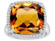 Star K Large Cushion Cut Simulated Imperial Yellow Topaz Halo Engagement Ring in Sterling Silver Size 6