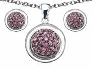 Star K Created Pink Sapphire Round Puffed Pendant with matching earrings in Sterling Silver
