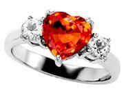 Star K 8mm Heart Shape Simulated Mexican Fire Opal Ring in Sterling Silver Size 5
