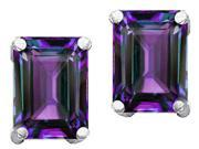 Star K 8x6mm Emerald Cut Simulated Alexandrite Earrings in Sterling Silver
