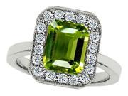 Star K 10x8mm Emerald Cut Simulated Peridot Ring in Sterling Silver Size 7