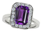 Star K 10x8mm Emerald Cut Simulated Amethyst Ring in Sterling Silver Size 6