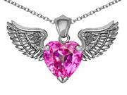 Star K Wing of Love Pendant Necklace with 8mm Heart Shape Created Pink Sapphire in Sterling Silver 9SIA04W1422709