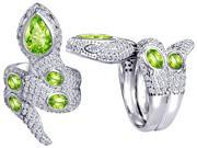 Star K Good Luck Snake Ring with Simulated Apple Green Amethyst Stones in Sterling Silver Size 6