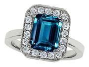 Star K 10x8mm Emerald Cut Simulated Blue Topaz Ring in Sterling Silver Size 6