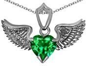 Star K Wing of Love Pendant with 8mm Heart Shape Simulated Emerald in Sterling Silver