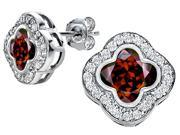 Star K Clover Earrings Studs with 8mm Clover Cut Simulated Garnet in Sterling Silver
