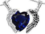 Star K His and Hers winged Love Couple 2pcs pendant set with Heart Shape 11mm Simulated Sapphire in Sterling Silver
