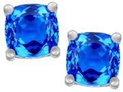 Star K Cushion Cut 7mm Simulated Blue Topaz Earrings Studs in Sterling Silver
