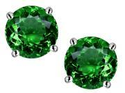 Star K Round 7mm Simulated Emerald Earrings Studs in Sterling Silver