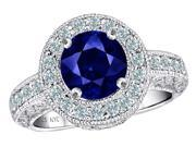 Star K 7mm Round Created Sapphire Ring in Sterling Silver Size 10
