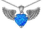 Star K Wing of Love Pendant Necklace with 8mm Heart Shape Simulated Blue Opal in Sterling Silver 9SIA04W1422864