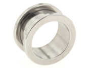 """One Stainless Steel Threaded Flesh Tunnel: 18mm 3/8"""" (SOLD INDIVIDUALLY. ORDER TWO FOR A PAIR.)"""