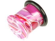 """One Plug--Acrylic Single Flared Marble Plug: 1/2""""g 5/16"""" Candy (SOLD INDIVIDUALLY. ORDER TWO FOR A PAIR.)"""