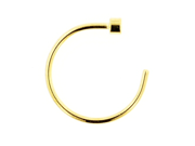"""One PVD Stainless Steel Nose Hoop: 18g 5/16"""" Gold"""