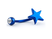 """PVD Stainless Steel Gem Navel Barbell with Star: 14g 3/8"""" Blue"""