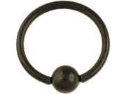 """One PVD Stainless Steel Captive Bead Ring: 16g 3/8"""" Black (SOLD INDIVIDUALLY. ORDER TWO FOR A PAIR.)"""