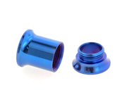 One PVD Stainless Steel Double Flared Threaded Flesh Tunnel: 2g, Blue (SOLD INDIVIDUALLY. ORDER TWO FOR A PAIR.)
