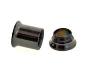One PVD Stainless Steel Double Flared Threaded Flesh Tunnel: 0g, Black (SOLD INDIVIDUALLY. ORDER TWO FOR A PAIR.)