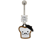 Stainless Steel Gem Navel Barbell with Mustached French Toast: 14g