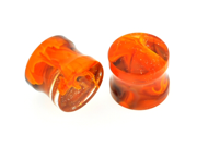 Pair of Glass Double Flared Power Plugs: 0g Tangerine Brown