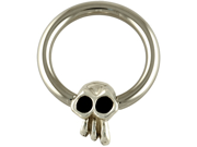 """One Steel Captive Bead Ring with Horizontal Large (12mm) Skullduggery Skull: 10g 5/8"""" (SOLD INDIVIDUALLY. ORDER TWO FOR A PAIR.)"""
