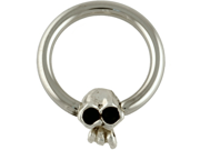 """One Steel Captive Bead Ring with Horizontal Medium (8mm) Skullduggery Skull: 10g 1/2"""" (SOLD INDIVIDUALLY. ORDER TWO FOR A PAIR.)"""