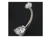 "Titanium Prong-set Faceted Gem Curved Barbell: 14g 7/16"", 4mm & 6mm White CZ Gems"