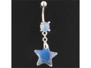 "Gem Navel Barbell - Synthetic Opal Stone Star Dangle: 14g 3/8"""