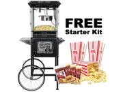 FunTime Full Size Carnival Style 8oz Hot Oil Popcorn Machine w/ Cart (Black & Silver)