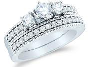 14k White Gold Diamond Ladies Engagement Ring Wedding Band Two 2 Ring Set Three 3 Stone Side Stones Channel Set Round Brilliant Cut Diamond Ring  (1.0 cttw, G - H Color, SI2 Clarity)