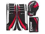 Tour Hockey Adult Invader 150 Hockey Goalie Pad Pack - G105AP (Black-White-Red - 27 Inch)