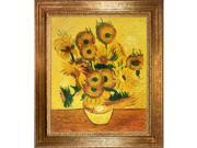 Van Gogh Paintings: Vase with Fifteen Sunflowers with Vienna Wood Frame - Gold Leaf Finish - Hand Painted Framed Canvas Art