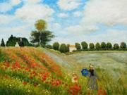 Monet Paintings: Poppy Field in Argenteuil - Hand Painted Canvas Art