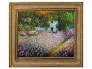 Monet Paintings: Artist's Garden at Giverny with Regal Champagne Frame - Dark Champagne Finish - Hand Painted Framed Canvas Art