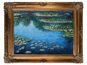 Monet Paintings: Water Lilies with Renaissance Bronze Frame - Bronze Finish - Hand Painted Framed Canvas Art