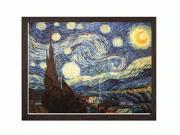 "Art Reproduction Oil Painting - Van Gogh Paintings: Starry Night with Grazed Ebony - Distressed Black Finish - 34"" X 44"" - Hand Painted Framed Canvas Art"