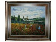 """Art Reproduction Oil Painting - Monet Paintings: Poppy Field near Vetheuil with Natural Creed Frame - Deep Natural Stained Wood - 29"""" X 33"""" - Hand Painted Framed Canvas Art"""