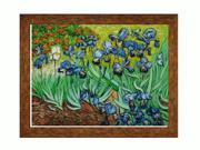 "Art Reproduction Oil Painting - Van Gogh Paintings: Irises with Vintage Gold - Eco Friendly - Gold Finish - 36"" X 46"" - Hand Painted Framed Canvas Art"