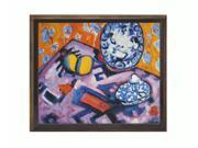 "Art Reproduction Oil Painting - Fauve Still Life with Cottage Oak Frame - Diamond Patterned with Bronze and Dark Stain Finish - 24"" X 28"" - Hand Painted Framed Canvas Art"
