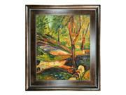 """Art Reproduction Oil Painting - Fenced Landscape with Natural Creed Frame - Deep Natural Stained Wood - 29"""" X 33"""" - Hand Painted Framed Canvas Art"""