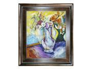 """Art Reproduction Oil Painting - Flowers in a White Vase with Natural Creed Frame - Deep Natural Stained Wood - 29"""" X 33"""" - Hand Painted Framed Canvas Art"""