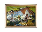 """Art Reproduction Oil Painting - Dolce Far Niente with Tuscan Crackle Frame - Gold Finished Wood with White Crackle Accent - 30"""" X 42"""" - Hand Painted Framed Canvas Art"""