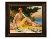 """Art Reproduction Oil Painting - Other Great Artists: Nude at the Beach with Veine D' Or Bronze Scoop - Bronze and Rich Brown Finish - 26.5"""" X 30.5"""" - Hand Painted Framed Canvas Art"""