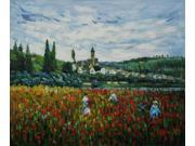 Monet Paintings: Poppy Field near Vetheuil - Hand Painted Canvas Art