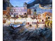 """Positano by Night - Classic 20"""" X 24""""- Hand Painted Canvas Art"""